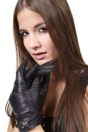 gloves women: pretty woman with long hair and black leather glove