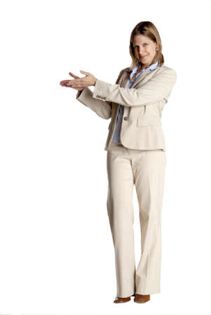 a young business woman with white suit shows