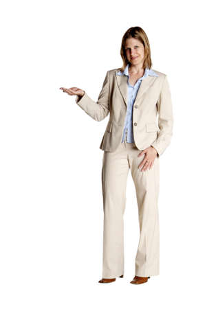 explanation: a young business woman with white suit shows