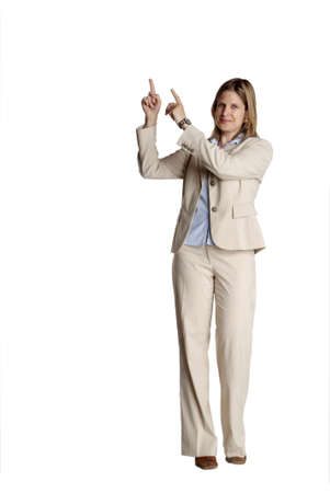 gorgios: a young business woman with white suit shows