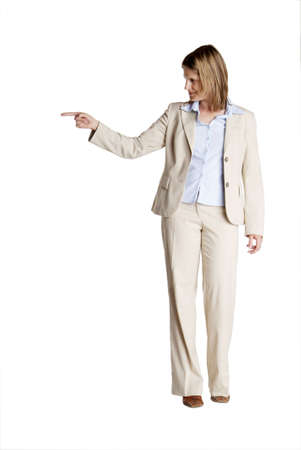 a young business woman with white suit shows photo
