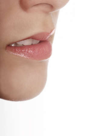 nose close up: detail of a face with red lips and chin