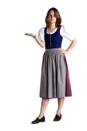 the explanation: a young woman with dress stands in front of white background