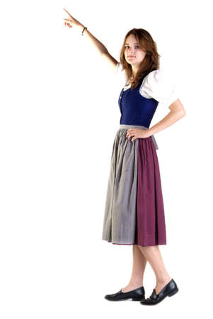dactylology: a young woman with dress stands in front of white background