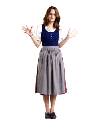 disclaim: a young woman with dress stands in front of white background