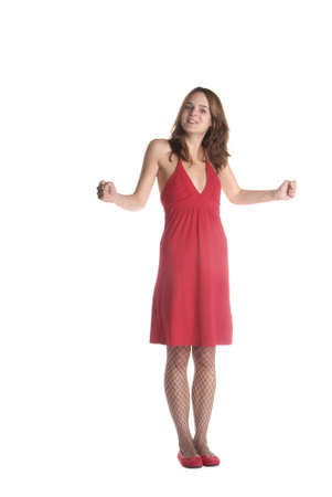 bluster: standing woman in red dress is clench her fist