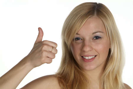 hold up: young blond woman hold thumb up