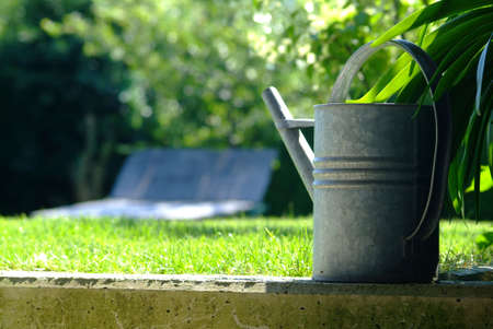 big watering can on curbstone in front of meadow Stock Photo