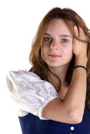 young woman in dirndl remove hair out of face