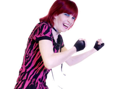 fingerless gloves: red-headed woman with pink shirt and fingerless gloves boxes