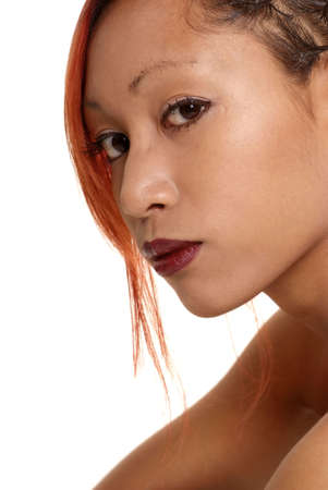 portrait asian woman with red lips and red wisp photo