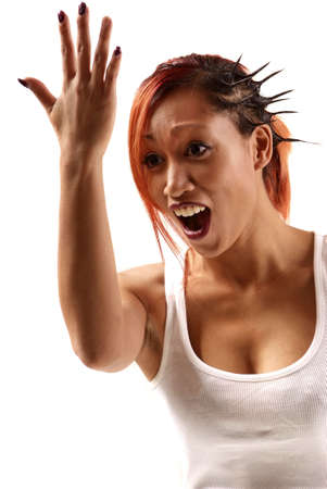 woman looking with opened mouth at arm