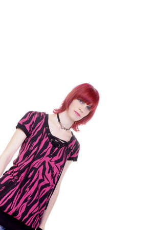 young redhaired woman with pink black shirt