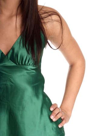 brunett hair body hand hip turkis dress