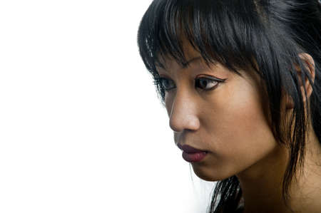 portrait of a young pretty asian woman with red lips photo