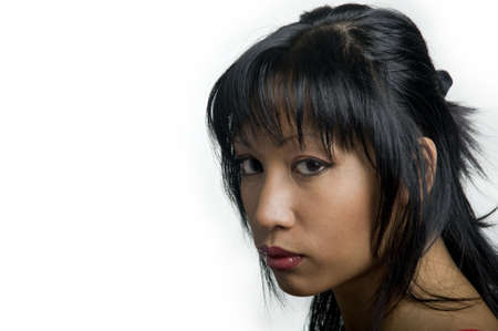portrait of a young pretty asian woman with red lips