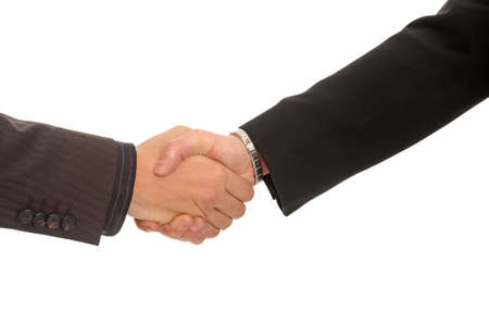 two 2 hand hold agreement contract business Stock Photo