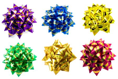 bow bows gift collection , close-up isolated on white background photo