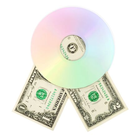 cd dvd disk money dollar close-up isolated on white background photo
