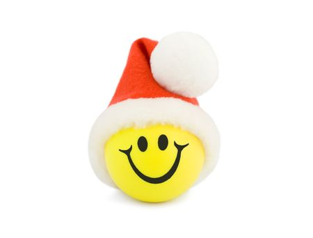 Christmas Smiling Tennis Ball in christmas hat  photo