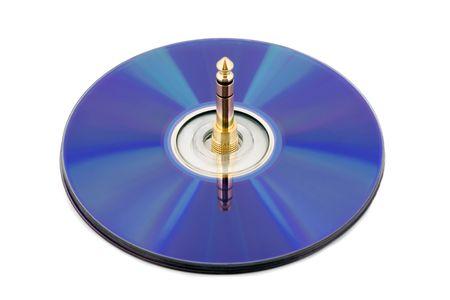 jackplug: Compact disk connector jack-plug Stock Photo