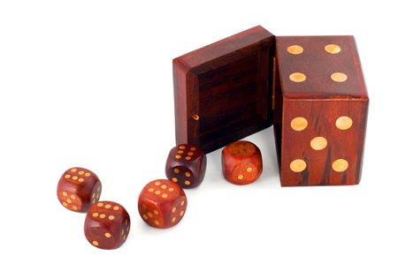 dices in dice isolated on white background photo