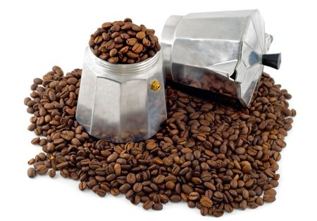 espresso coffee maker on black coffee grain Stock Photo - 4597823