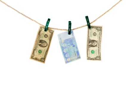 noteboard: evro and dollar on rope