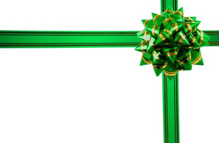 green gift ribbon isolated on a white background. photo