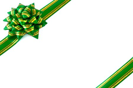 green ribbon bow isolated white background christmas wrapping