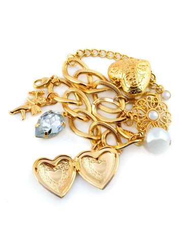gold heart in necklace Stock Photo