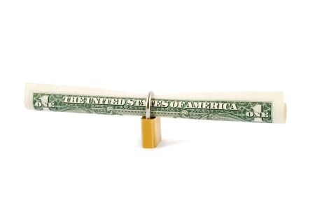 protection dollar in golden lock  Stock Photo - 4603303