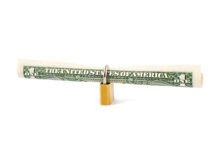 protection dollar in golden lock Stock Photo - 4603303