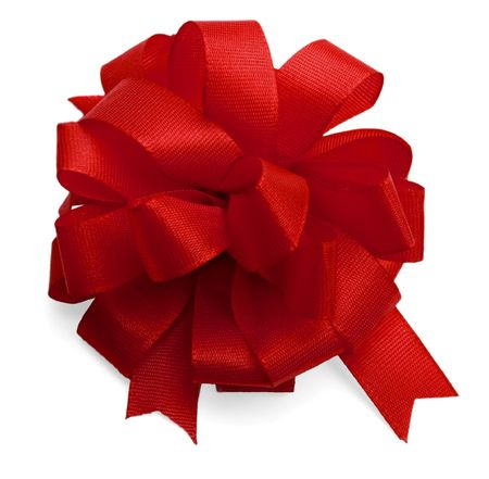 red satin bow isolated on white background. photo