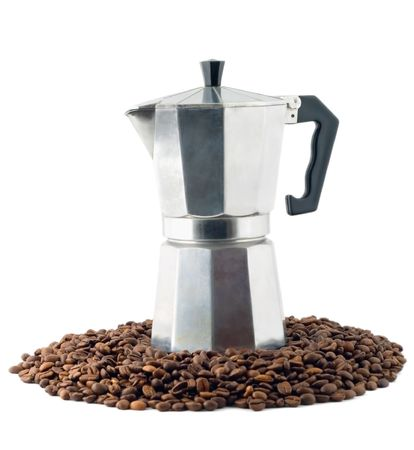 coffee maker on black coffee grain, isolated on white background Stock Photo - 5448111
