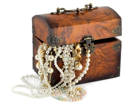 Treasure chest with pearl earrings , jewellery border , golden chains bracelets pearl isolated on white background photo