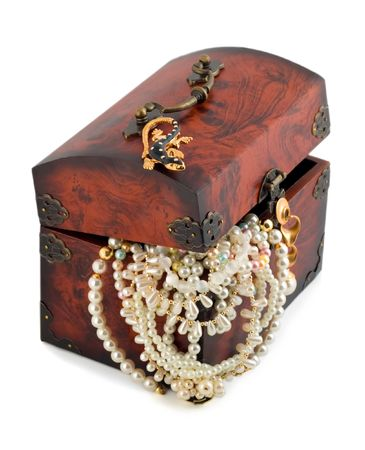 treasure chest and pearl necklace isolated isolated on white background photo