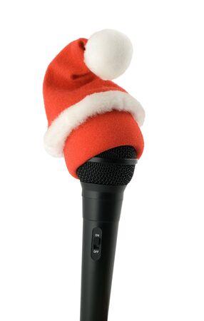 classic santa: christmas karaoke mike in santa hat
