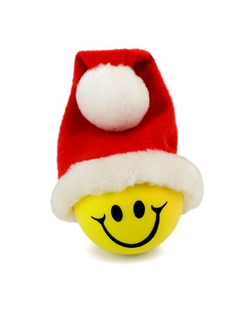 smile in santa hat isolated on white  photo