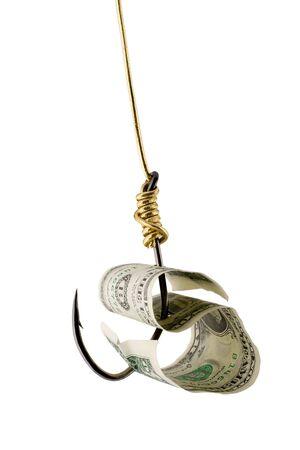 dollar bait on hook golden thread isolated on white background photo