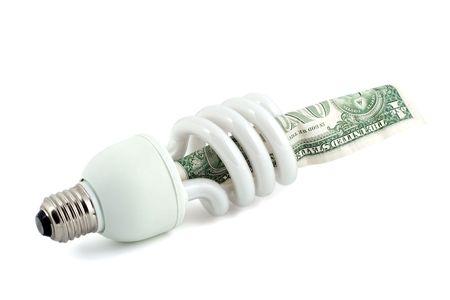 fluorescent lamp energy saving close-up isolated on white background photo