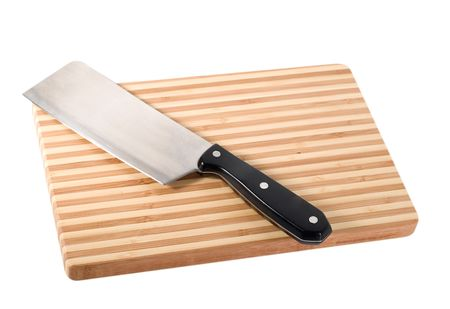 Knife on the chopping board close-up isolated on white background photo