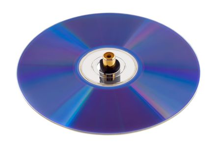 jackplug: music compact disk with jackplug isolated on white background Stock Photo