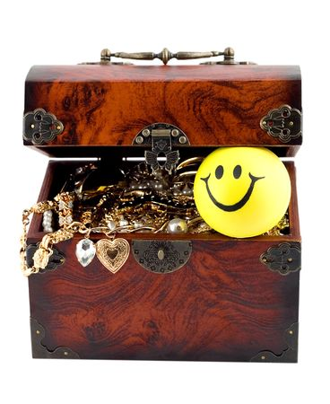 Treasure chest open isolated on white background photo