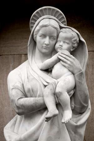 familia orando: Virgen Mar�a  Foto de archivo