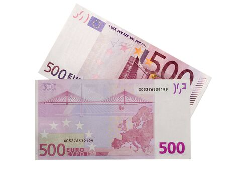 Isolated 500 euro banknote and 500 euros banknote back  photo