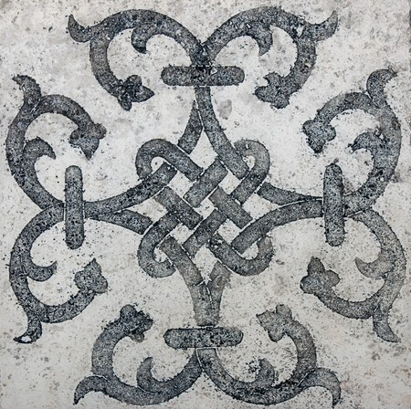 mosaic floor: old east tile - classic travertine marble texture