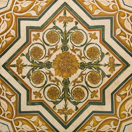 mosaic floor: Ornamental Flowers and paisley - classic travertine marble texture