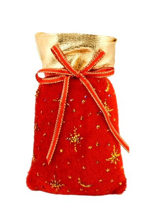 Velvet red Santa Bag has Merry Christmas embroidery on the front, in gold, with gold braided drawstring with bells.  photo