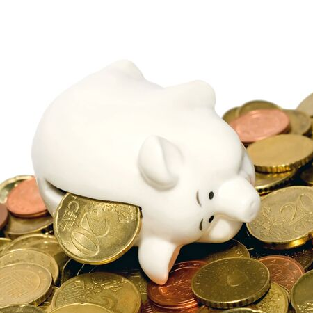 Coins piggy bank isolated on white background Stock Photo - 8034308